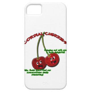 polite cordial cherries cartoon on stems iPhone 5 case