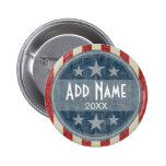 Political Button - vintage stars and stripes