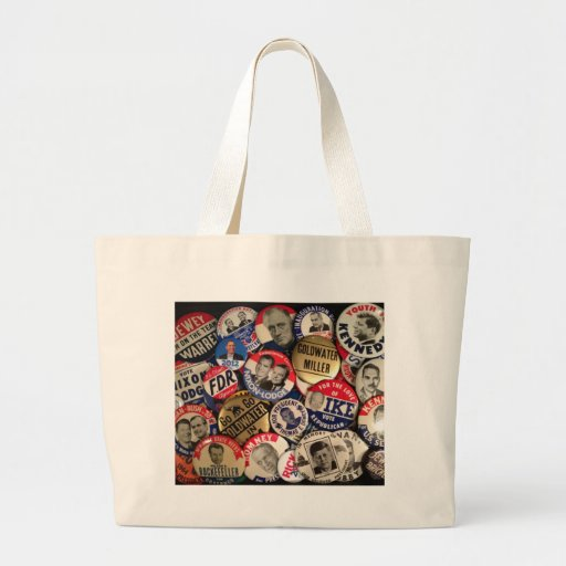 Political Buttons Canvas Bags