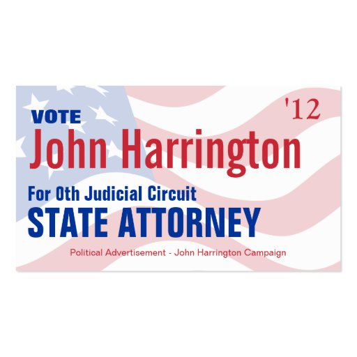Political Campaign Card - State Attorney Pack Of Standard Business Cards