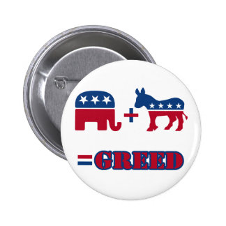 Political Greed 6 Cm Round Badge