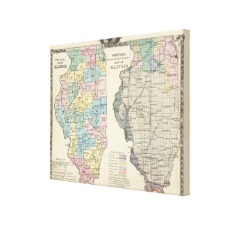 Political map of Illinois Canvas Print