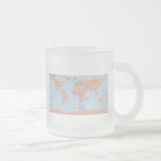 Political Map of the World Frosted Glass Coffee Mug