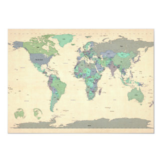 Political Map of the World Map 13 Cm X 18 Cm Invitation Card