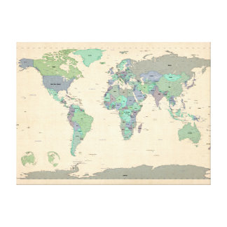 Political Map of the World Map Canvas Prints