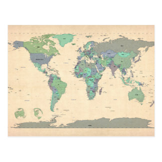 Political Map of the World Map Postcard