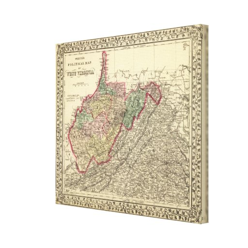 Political Map of West Virginia Canvas Print