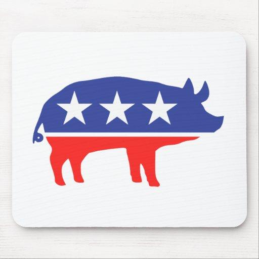 Political Party Pig Mascot Mousepads