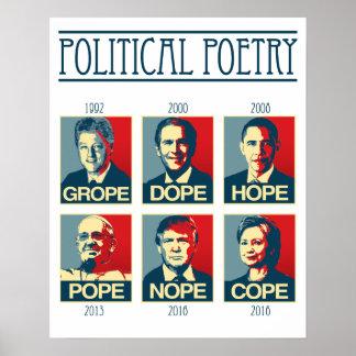 Political Poetry Poster - Grope Dope Hope Pope Nop