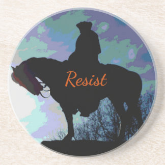 "Political 'RESIST"" George Washington On Horse Beverage Coasters"