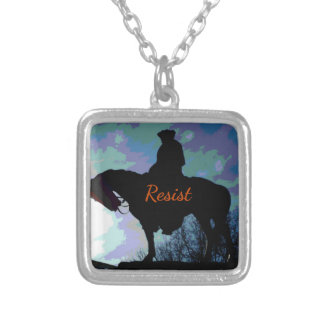 """Political 'RESIST"""" George Washington On Horse Silver Plated Necklace"""