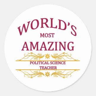 Political Science Teacher Round Sticker