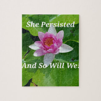 Political 'She Persisted' Pink Lotus Flower Jigsaw Puzzle