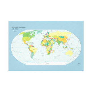 Political World Map Canvas Print