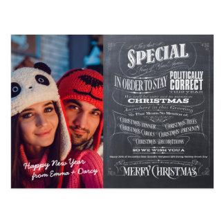 Politically Correct Incorrect Chalkboard Christmas Postcard