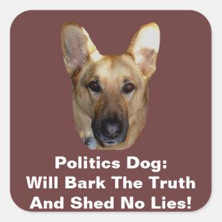 Politics German Shepherd Dog Will Bark The Truth Square Stickers