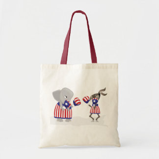 Politics left and right fight design budget tote bag