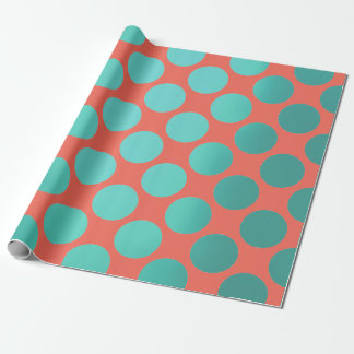 Polka Big Dots Teal Aqua Green Bright Orange Wrapping Paper