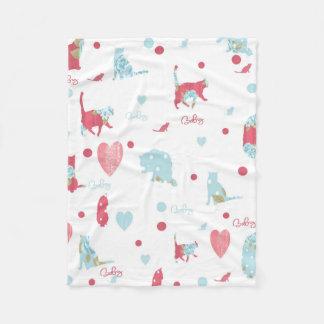 polka cat design blanket