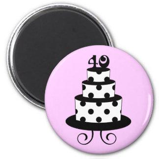 Polka Dot 40th Birthday Anniversary Cake 6 Cm Round Magnet