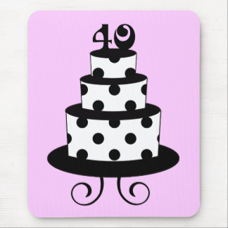 Polka Dot 40th Birthday Anniversary Cake Mouse Pad