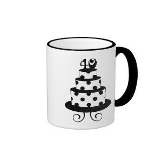 Polka Dot 40th Birthday Anniversary Cake Ringer Mug