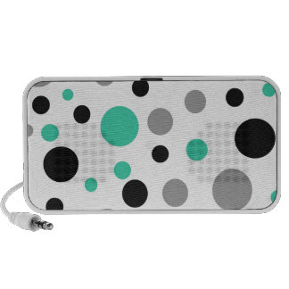 Polka Dot Abstract Art in Teal Portable Speakers