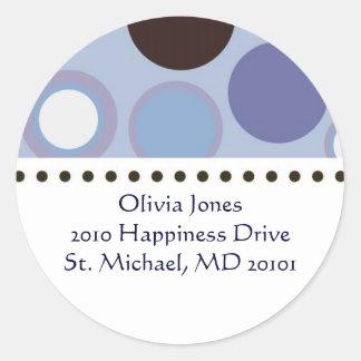 Polka Dot Address Label Round Sticker