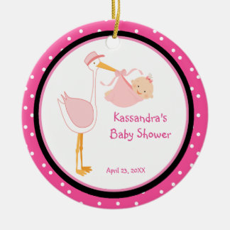 Polka Dot Adorable Stork Baby Girl Shower Ornament