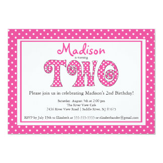 Polka Dot Alphabet 2nd Birthday Party Invitation
