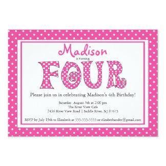 "Polka Dot Alphabet 4th Birthday Party Invitation 5"" X 7"" Invitation Card"