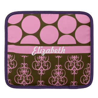 Polka Dot and Damask in Pink and Brown Sleeves For iPads