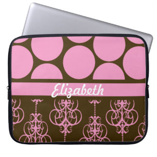 Polka Dot and Damask in Pink and Brown Laptop Computer Sleeves