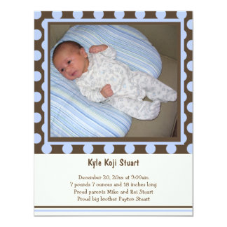 Polka Dot And Stripes Baby Boy Birth Announcement