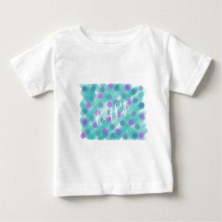 Polka Dot and Teal Watercolor Sketch - Happy Baby T-Shirt