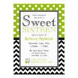 Polka Dot Apple Green Chevron Sweet Sixteen Invites