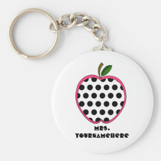 Polka Dot Apple Teacher Key Ring