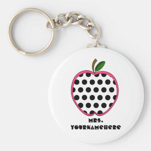 Polka Dot Apple Teacher Key Chains