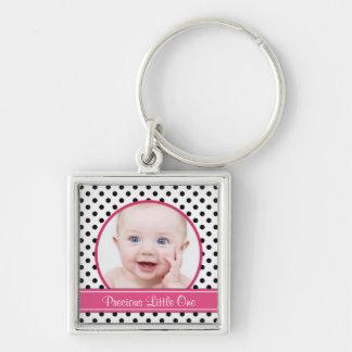 Polka Dot Baby Photo Template Keychain