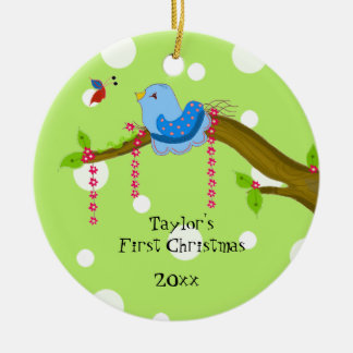 Polka Dot Baby's First Christmas Ceramic Ornament