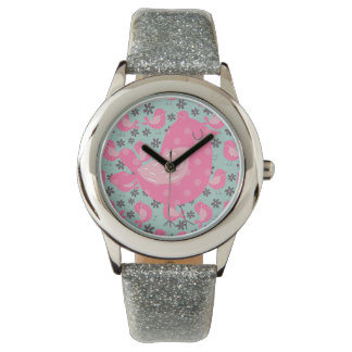 Polka Dot Birds and Flowers Watches