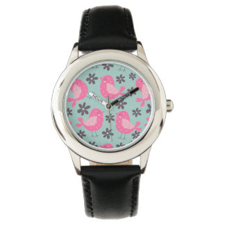 Polka Dot Birds and Flowers Wrist Watches