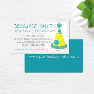 Polka Dot Birthday Bday Party Hat Event Planner Business Card