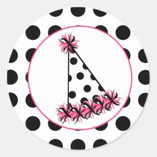 Polka Dot Birthday Party Hat Round Sticker