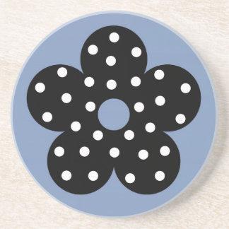 Polka Dot Black Flower with Lt Blue Background Beverage Coasters