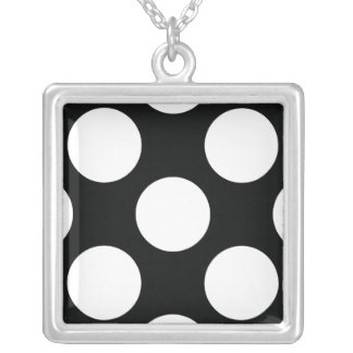Polka Dot (Black & White) Any Size Customizable Silver Plated Necklace