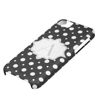 Polka dot black, white monogram girly iPhone 5C case