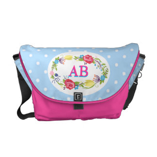polka dot blue pretty floral messenger bag