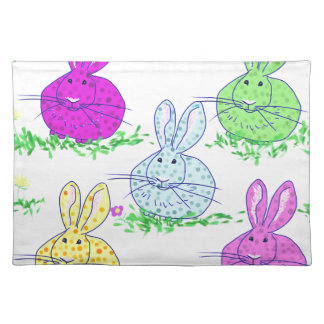 Polka dot bunnies placemat
