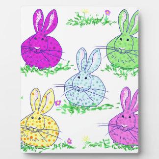 Polka dot bunnies plaque